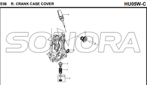 E06 R. CRANK CASE COVER for HU05W-C MIO 50 Spare Part Top Quality
