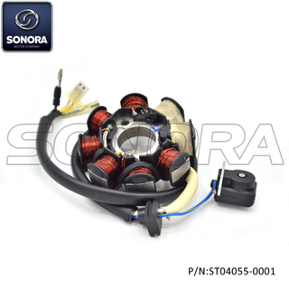 139QMAB STATOR HALF WAVE CHARGING NEW CONNECTOR (P/N:ST04055-0001) Top Quality