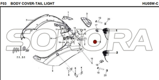 F03 BODY COVER-TAIL LIGHT for HU05W-C MIO 50 Spare Part Top Quality