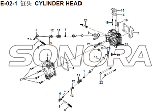 E-02-1 CYLINDER HEAD XS150T-8 CROX For SYM Spare Part Top Quality
