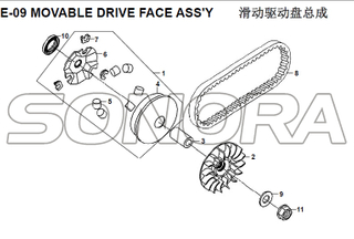 E-09 MOVABLE DRIVE FACE ASSY for XS125T-16A Fiddle III Spare Part Top Quality