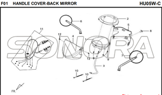 F01 HANDLE COVER-BACK MIRROR for HU05W-C MIO 50 Spare Part Top Quality